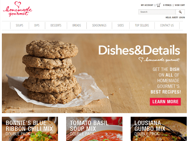 homemade gourmet homepage