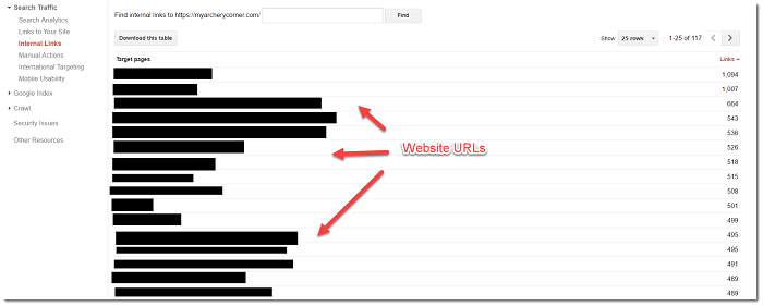 Google Webmaster Tools Internal Links