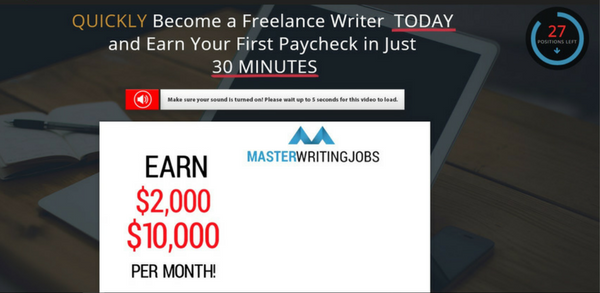 Master Writing Jobs Scam Homepage