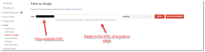 Google Webmaster Tools Fetch as Google